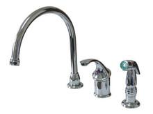 Kingston Brass Single Handle Kitchen Faucet & Non-Metallic Side Spray - Polished Chrome KB3811GLSP
