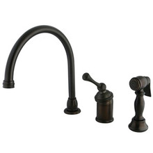 Kingston Brass Single Handle Kitchen Faucet & Brass Side Spray - Oil Rubbed Bronze KB3815BLBS