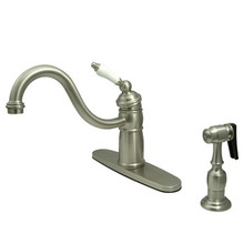 Kingston Brass Single Handle Kitchen Faucet & Brass Side Spray - Satin Nickel KB1578PLBS