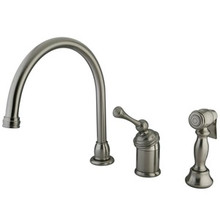Kingston Brass Single Handle Kitchen Faucet & Brass Side Spray - Satin Nickel KB3818BLBS