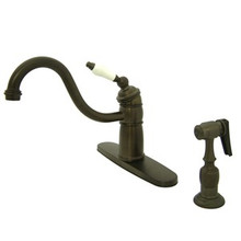 Kingston Brass Single Handle Kitchen Faucet & Brass Side Spray - Oil Rubbed Bronze KB1575PLBS