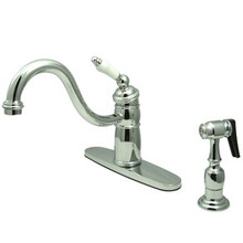 Kingston Brass Single Handle Kitchen Faucet & Brass Side Spray - Polished Chrome KB1571PLBS
