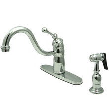 Kingston Brass Single Handle Kitchen Faucet & Brass Side Spray - Polished Chrome