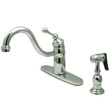 Kingston Brass Single Handle Kitchen Faucet & Brass Side Spray - Polished Chrome