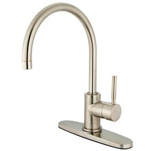 Kingston Brass Single Handle Kitchen Faucet - Satin Nickel KS8718DLLS