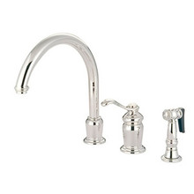 Kingston Brass Single Handle High Spout Kitchen Faucet & Brass Side Spray - Polished Chrome