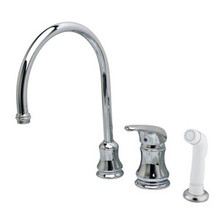 Kingston Brass Single Handle Goose Neck Kitchen Faucet & Non-Metallic Side Spray - Polished Chrome