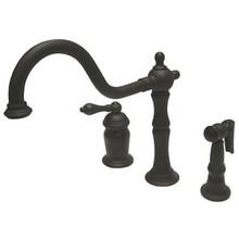 Kingston Brass Single Handle Deck Mount Widespread Kitchen Faucet & Brass Side Spray - Oil Rubbed Bronze