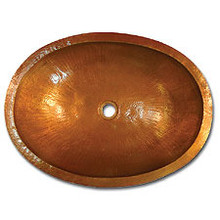 "Linkasink C023 WC 17.5"" X 14"" Small Oval Lav Copper sink - Weathered Copper"