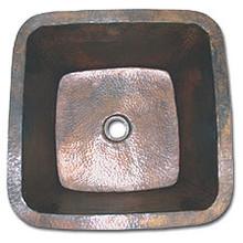 "LinkaSink C008 DB 3 1/2"" Drain Large 20"" Square Lav Copper Sink - Dark Bronze"