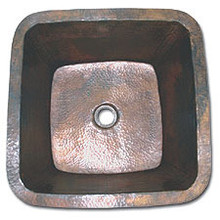 "LinkaSink C006 SN 3 1/2"" Drain Small 16"" Square Lav Copper Sink - Satin Nickel"