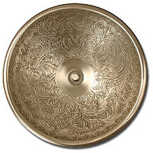 "Linkasink B004 WB 17"" Bronze Botanical Patterned Bowl Vessel or Drop in Sink - White Bronze"
