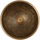 "Linkasink B004 AB 17"" Bronze Botanical Patterned Bowl Vessel or Drop in Sink - Antique Bronze"