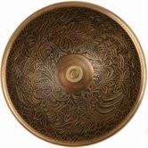 """Linkasink B004 AB 17"""" Bronze Botanical Patterned Bowl Vessel or Drop in Sink - Antique Bronze"""