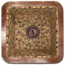 """Linkasink V008 WC 16"""" Square Copper Mosaic Lav Sink - Drain Included - Weathered Copper"""