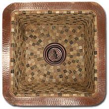 "Linkasink V008 PN 16"" Square Copper Mosaic Lav Sink - Drain Included - Polished Nickel"