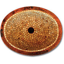 "Linkasink V003 WC Small 16"" Oval Mosaic Lav Sink - Drain Included - Weathered Copper"