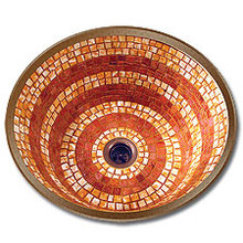"Linkasink V001 WC Small 14"" Round Mosaic Lav Sink - Drain Included - Weathered Copper"