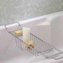 Valsan Essentials 53414ES Large Adjustable Bathtub Caddy - Rack - Satin Nickel