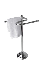 Valsan 53507NI Essentials Free Standing Double Guest Towel Holder Rail - Polished Nickel