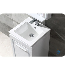 "Fresca FVN8118WH Allier Bathroom Vanity with Sink & Faucet & Mirror 15.75"" W - White"