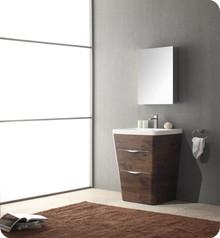 "Fresca FVN8525RW Milano Bathroom Vanity with Sink & Faucet & Medicine Cabinet 25.5"" W - Rosewood"
