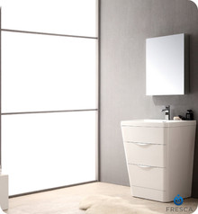 "Fresca FVN8525WH Milano Bathroom Vanity with Sink & Faucet & Medicine Cabinet 25.5"" W - Glossy White"