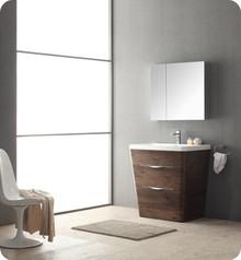 "Fresca FVN8532RW Milano Bathroom Vanity with Sink & Faucet & Medicine Cabinet 31.5"" W - Rosewood"
