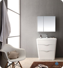 "Fresca FVN8532WH Milano Bathroom Vanity with Sink & Faucet & Medicine Cabinet 31.5"" W - Glossy White"