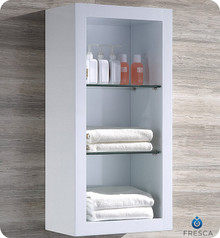 "Fresca FST8130WH Allier White Bathroom Linen Side Cabinet & 2 Glass Shelves  30"" x 15.75"""