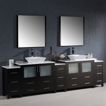 "Fresca FVN62-108ES-VSL Torino Double Sink Bathroom Vanity with 3 Side Cabinets & Vessel Sinks & Faucets 108""W x 35.63""H - Espresso"