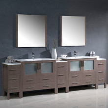 "Fresca FVN62-108GO-UNS Torino Double Sink Bathroom Vanity & 3 Side Cabinets & Integrated Sinks & Faucets 108"" W - Gray Oak"