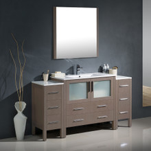 "Fresca FVN62-123612GO-UNS Torino Bathroom Vanity with 2 Side Cabinets & Integrated Sink & Faucet 59.75"" W - Gray Oak"