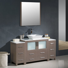 "Fresca FVN62-123612GO-VSL Torino Bathroom Vanity with 2 Side Cabinets & Vessel Sink & Faucet 59.75"" W - Gray Oak"