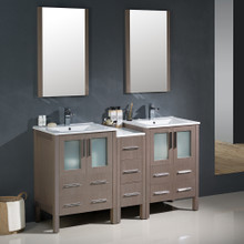 "Fresca FVN62-241224GO-UNS Torino Double Sink Bathroom Vanity with Side Cabinet & Integrated Sinks & Faucets 60"" W - Gray Oak"
