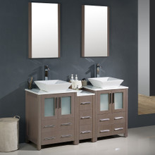 "Fresca FVN62-241224GO-VSL Torino Double Sink Bathroom Vanity with Side Cabinet & Vessel Sinks & Faucets 60"" W - Gray Oak"