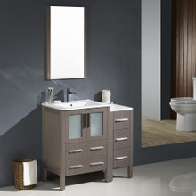 "Fresca FVN62-2412GO-UNS Torino Bathroom Vanity with Side Cabinet & Integrated Sinks & Faucets 36"" W - Gray Oak"