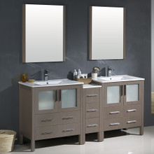 "Fresca FVN62-301230GO-UNS Torino Double Sink Bathroom Vanity with Side Cabinet & Integrated Sinks & Faucets 72"" W - Gray Oak"