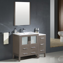 "Fresca FVN62-3012GO-UNS Torino Bathroom Vanity with Sink & Faucet & Side Cabinet & Integrated Sink 42"" W - Gray Oak"