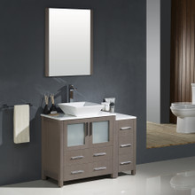 "Fresca FVN62-3012GO-VSL Torino Bathroom Vanity with Side Cabinet & Vessel Sink & Faucet 42"" W - Gray Oak"