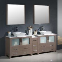 """Fresca FVN62-361236GO-VSL Torino Double Sink Bathroom Vanity with Side Cabinet & Vessel Sinks & Faucets 83.5"""" W - Gray Oak"""