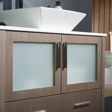 "Fresca FVN6236GO-VSL Torino Espresso Bathroom Vanity with Vessel Sink & Faucet 35.75"" W - Gray Oak"
