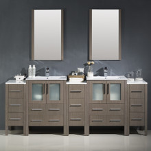 "Fresca FVN62-72GO-UNS Torino Espresso Double Sink Bathroom Vanity & 3 Side Cabinets & Integrated Sinks & Faucets 84"" W - Gray Oak"
