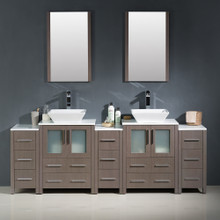 "Fresca FVN62-72GO-VSL Torino Espresso Double Sink Bathroom Vanity with 3 Side Cabinets & Vessel Sinks & Faucets 84"" W - Gray Oak"