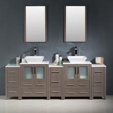 """Fresca FVN62-72GO-VSL Torino Espresso Double Sink Bathroom Vanity with 3 Side Cabinets & Vessel Sinks & Faucets 84"""" W - Gray Oak"""