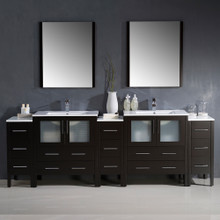 "Fresca FVN62-96ES-UNS Torino Double Sink Bathroom Vanity & 3 Side Cabinets & Integrated Sinks & Faucets 96"" W - Espresso"