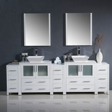 "Fresca FVN62-96WH-VSL Torino Double Sink Bathroom Vanity with 3 Side Cabinets & Vessel Sinks & Faucets 96"" W - White"