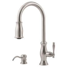Price Pfister GT529-TMS Hanover Single Handle 2 Function Pullout Spray High Arc Kitchen Faucet - Stainless Steel