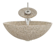 "Aurora S01 Tan Granite Vessel Sink with Chrome Faucet & Pop Up Drain - 16.5"" x 16.5"""