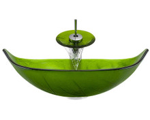 "Aurora A05 Green Glass Vessel Sink with Chrome Faucet & Pop Up Drain - 23.25"" x 14.5"""